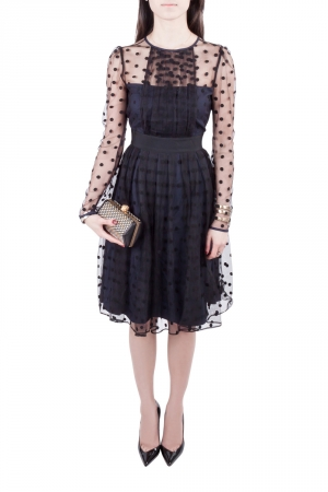 Alice by Temperley Navy Blue and Black Polka Dot Sheer Mesh Overlay Celia Dress S
