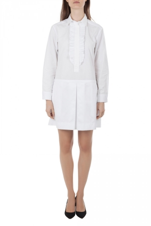 See by Chloe White Cotton Pleated Trim Shirt Dress S - used