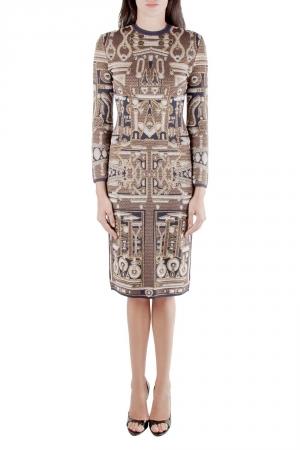 Mary Katrantzou Metallic Gold and Navy Blue Jacquard Knit Midi Dress XS - used