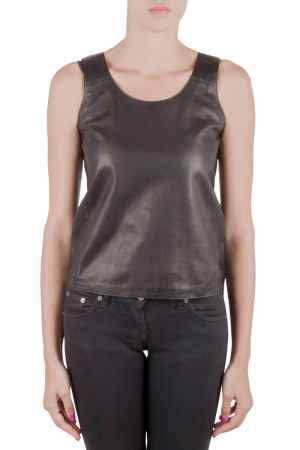 MM6 Maison Margiela Black Leather Sleeveless Tank Top M