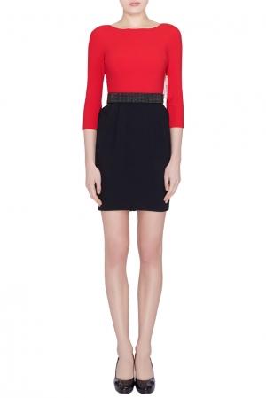 Alice + Olivia Red and Black Crepe Ira Sheath Dress S - used