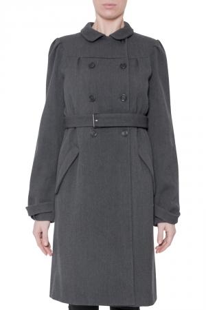 Miu Miu Dark Grey Twill Wool Double Breasted Belted Long Coat M
