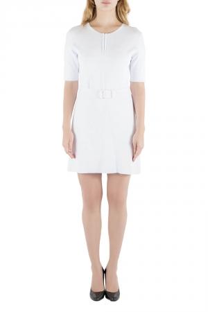 Carven White Rib Knit Belted Short Sleeve Skater Dress L - used