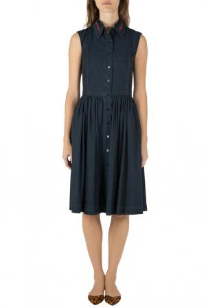 Preen Line Indigo Embroidered Chambray Sleeveless Alabama Dress XS - used