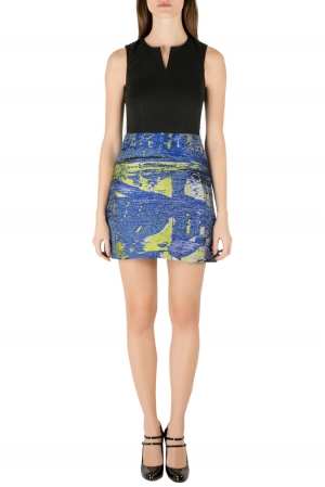 Proenza Schouler Black and Blue Jacquard Sleeveless Cocktail Dress S used