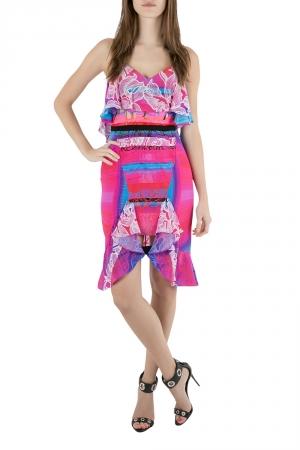 Peter Pilotto Multicolor Orchid Print Cutout Embroidered Silk Cascade Dress S