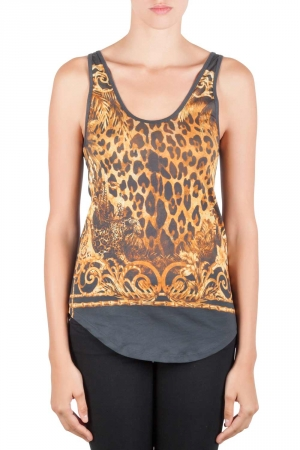 Balmain Slate Grey and Gold Leopard Print Cotton Tank Top S