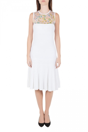 Versace White Stretch Crepe Floral Printed Sheer Yoke Sleeveless Dress S - used