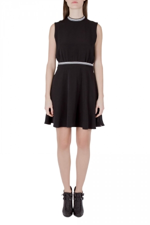 Victoria Victoria Beckham Black Crepe Ribbed Trim Sleeveless Mini Dress M - used