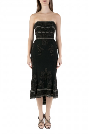 Temperley London Vintage Black Embroidered Beaded Tulle Strapless Dress S - used