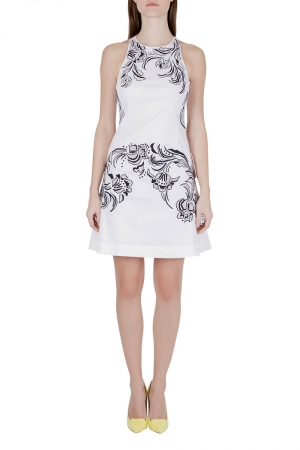 Roberto Cavalli White Cotton Poplin Contrast Embroidered Sleeveless Dress S - used