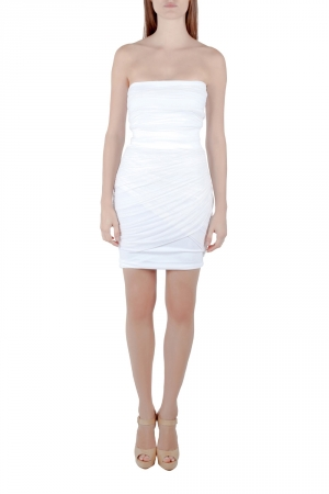 Preen by Thornton Bregazzi Collection Off White Ruched Strapless Dream Dress XS - used