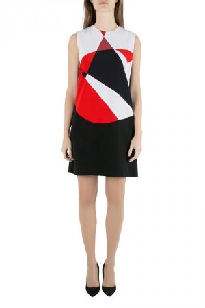Victoria Victoria Beckham Colorblock Lamé Trim Panelled Sleeveless Shift Dress M