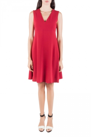 Joseph Ruby Red Crepe Stretch V Neck Sleeveless Polly Dress M