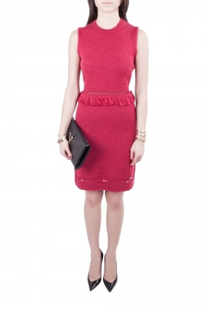 Dsquared2 Wine Red Ribbed Knit Sleeveless Fringed Sheath Dress M - used
