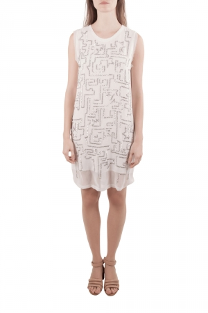 3.1 Phillip Lim White Chiffon Silver Sequined Maze Embellished Shift Dress S - used