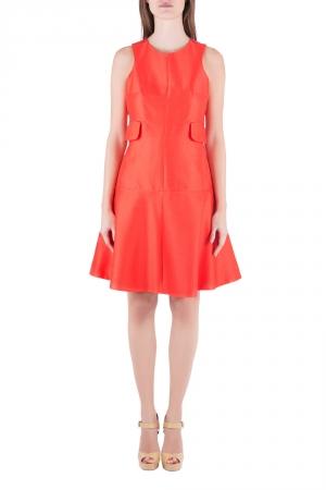 Carven Tangerine Cotton Silk Drop Waist Sleeveless Dress L - used