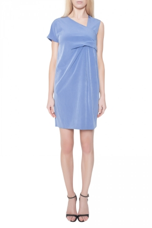 Carven Cornflower Blue Crepe Ruched Asymmetric Sleeve Shift Dress M - used