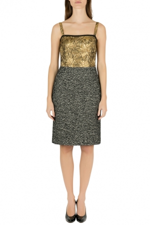 Dolce & Gabbana Colorblock Gold Brocade and Tweed Sleeveless Dress S - used