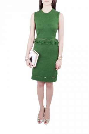 Dsquared2 Green Ribbed Knit Sleeveless Fringed Sheath Dress M