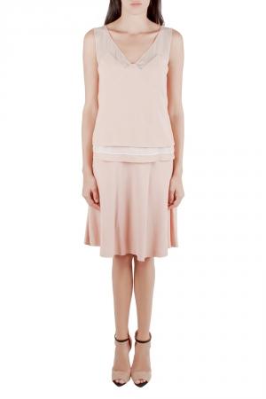 Philosophy Coral Pink Crepe Sheer Yoke Detail Tiered Sleeveless Dress M