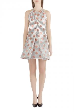 Kenzo White Polka Dot and Stripe Print Sleeveless Flared Dress M