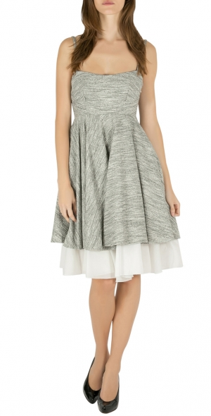 Philosophy Grey Tweed Overlay Layered Fit and Flare Dress S