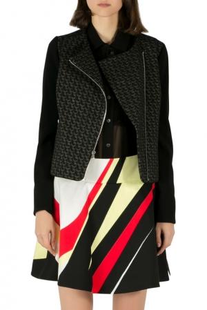 Diane von Furstenberg Black Wool Jacquard Noni Moto Jacket S