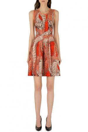 فستان سكيتر عيسى جاكار برتقالي بلا أكمام S