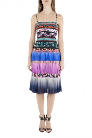 Jean Paul Gaultier Soleil Multicolor Digital Print Tiered Cami Dress XS - used