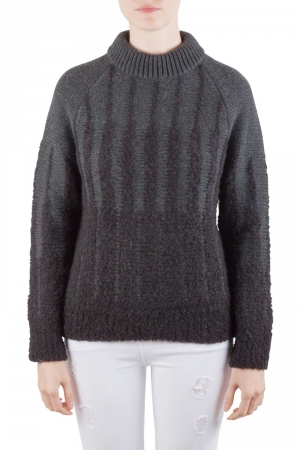 Etro Charcoal Grey Wool and Alpaca Textured Knit Long Sleeve High Sweater S - used