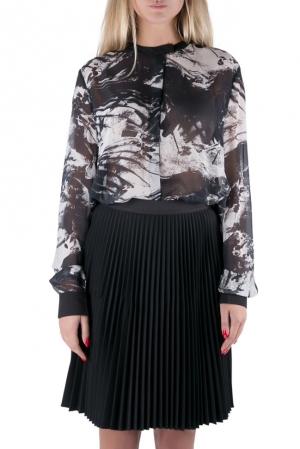 Preen by Thornton Bregazzi Blackbirds Printed Silk Long Sleeve High Low Blouse L