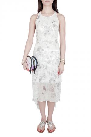 Elizabeth and James Pale Grey Floral Print Silk Embellished Handkerchief Hem Maylie Dress M