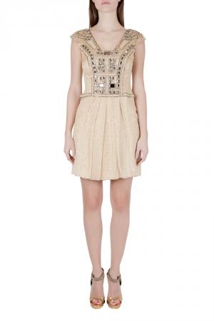 Carolina Herera Beige Plisse Crepe Embellished Tulle Cap Sleeve Dress S - used