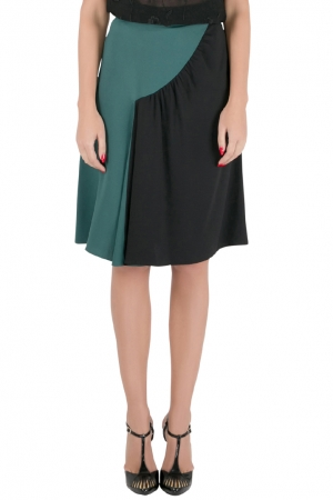 Prada Colorblock Crepe Ruched Panel A Line Skirt S