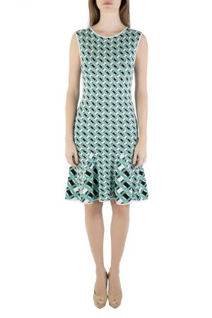 Zac Zac Posen Multicolored Knit Geometric Pattern Godet Dress S