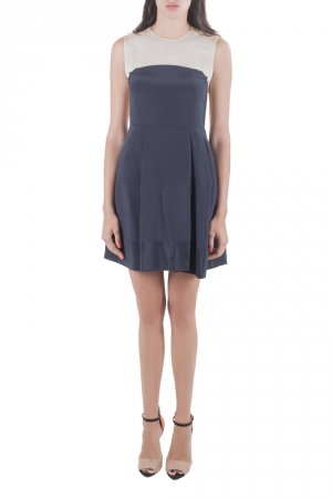 3.1 Philip Lim Navy Blue and Beige Silk Color Block Dress S - used