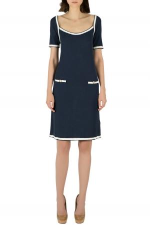 Blumarine Navy Blue Rib Knit Scoop Neck Shift Dress M - used