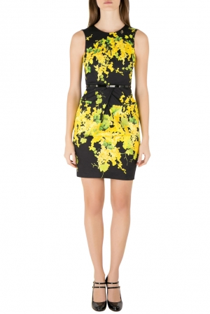 Blumarine Black and Yellow Floral Print Stretch Cotton Belted Sheath Dress S - used