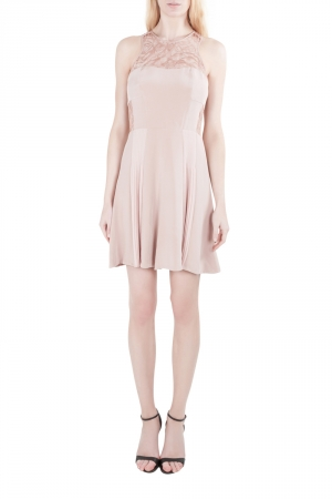 Rebecca Taylor Blush Pink Silk Lace Insert Pleated Cocktail Dress M used