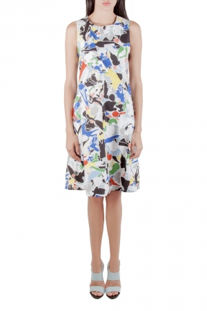 Jil Sander Multicolor Abstract Print Cotton Sleeveless Flared Dress XS - used