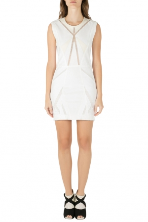 IRO White Panelled Cotton and Leather Patch Ambre Dress M - used
