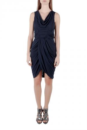 J Mendel Navy Blue Silk Jersey Draped Waist Detail Short Dress M - used