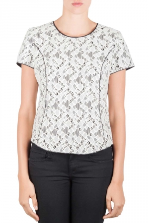 Nina Ricci Cream and Black Lace Princess Panel Top L