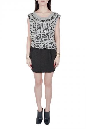 Faith Connexion Monochrome Abstract Print Jersey Mesh Back Sleeveless Tank Dress M used