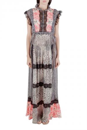 Amen Multicolor Silk and Lace Trim Multiprint Maxi Dress M - used