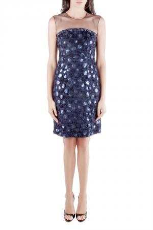 Mikael Aghal Navy Blue Rosette Applique Embellished Sheer Yoke Sleeveless Dress S - used