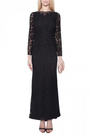 Needle & Thread Black Floral Lace Embellished Neck Gown S