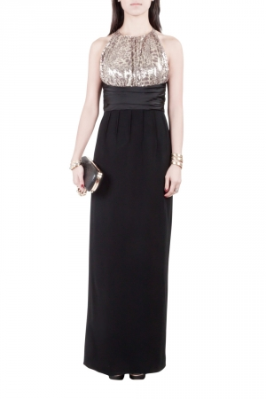 Mikael Aghal Black Crepe and Gold Sequin Embellished Gown S used