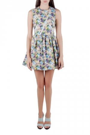 MSGM Multicolor Floral Printed Cotton Canvas Zip Accent Detail Dress S
